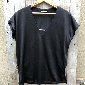 EUC Zara Black V Neck Top